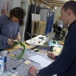 Zaza Zuilof and Luke Sturgeon designing attachments for Human Harp module at CIID