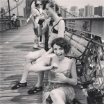 Hollie Miller and Di Mainstone take a break from filming on Brooklyn Bridge 13th Anniversary