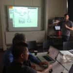 Yuli Levtov presenting Human Harp at NIME