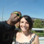 Dereck Higgins and Di on Bob Kerrey Suspension Bridge, Omaha